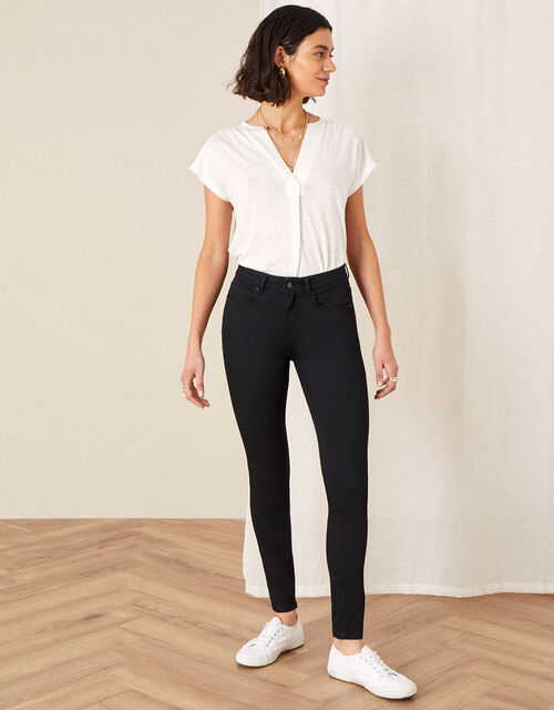 Nadine Short Length Jeans with Organic Cotton, Black (BLACK), large