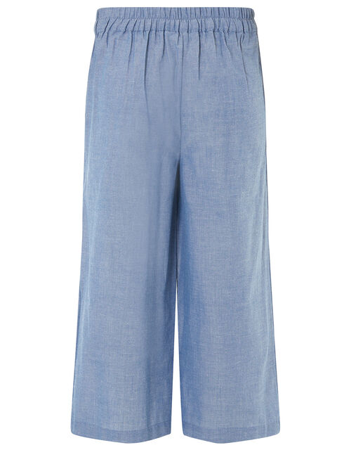 Wide Leg Chambray Trousers, Blue (BLUE), large