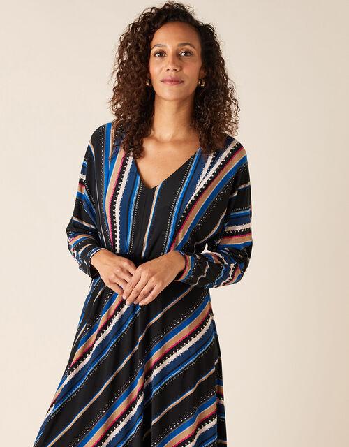 Stripe Print Midi Dress, Black (BLACK), large