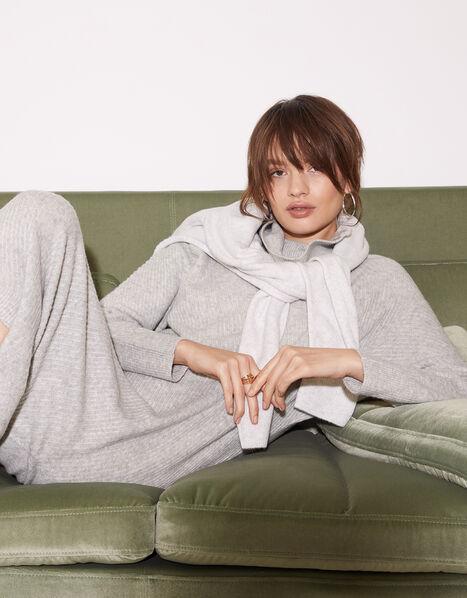Zip Neck Stitch Knit Dress Grey, Grey (GREY), large