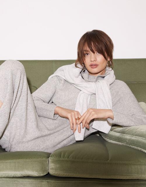 Zip Neck Stitch Knit Dress, Grey (GREY), large