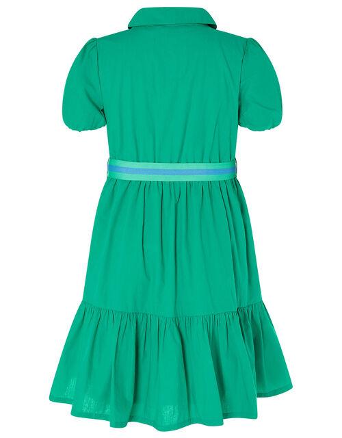 Puff Sleeve Belted Shirt Dress, Green (GREEN), large
