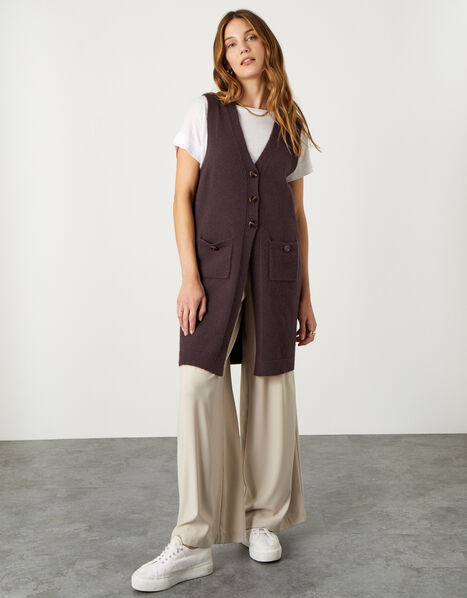 Button Longline Tabard Brown, Brown (CHOCOLATE), large
