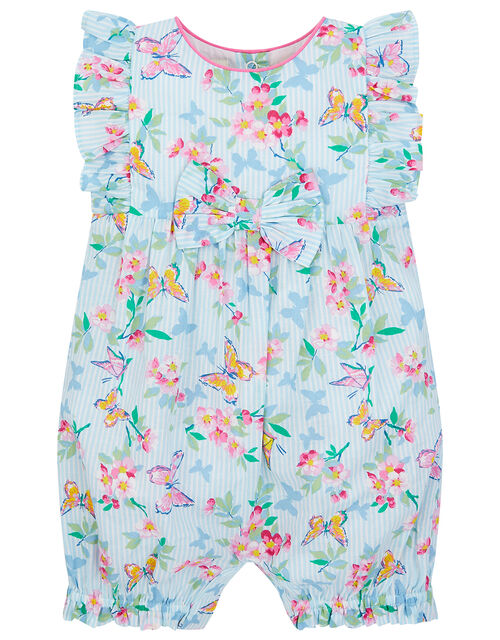 Newborn Baby Butterfly Floral Romper , Blue (BLUE), large