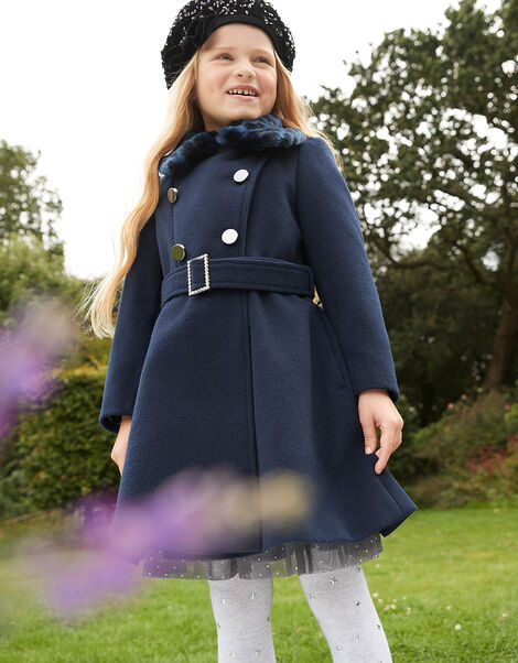 Buckle Belted Coat Blue, Blue (NAVY), large