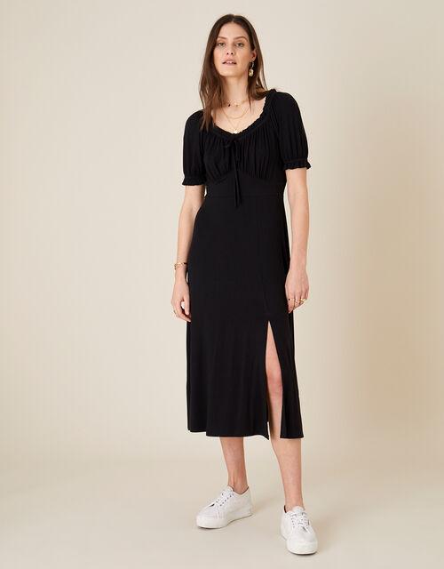 Sweetheart Neck Jersey Midi Dress, Black (BLACK), large