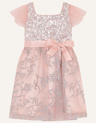 Baby Sequin Foil Print Dress Pink, Pink (DUSKY PINK), large