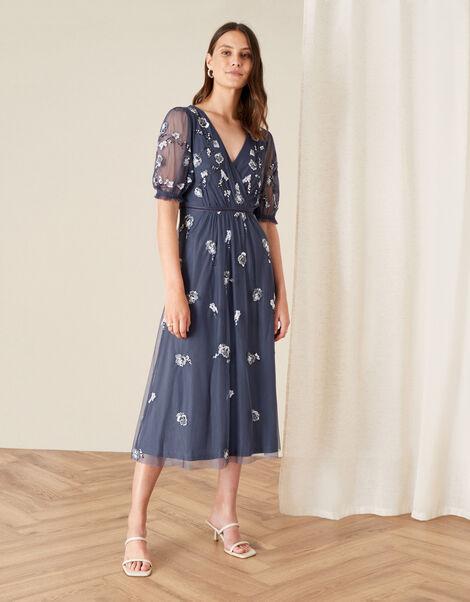 Mellie Embellished Midi Dress Grey, Grey (CHARCOAL), large