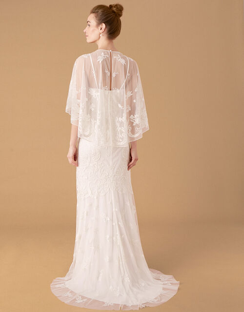 Christabel Cape Embroidered Bridal Dress, Ivory (IVORY), large