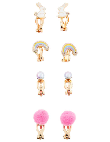 Rainbow Bunny Clip-On Earring Set, , large