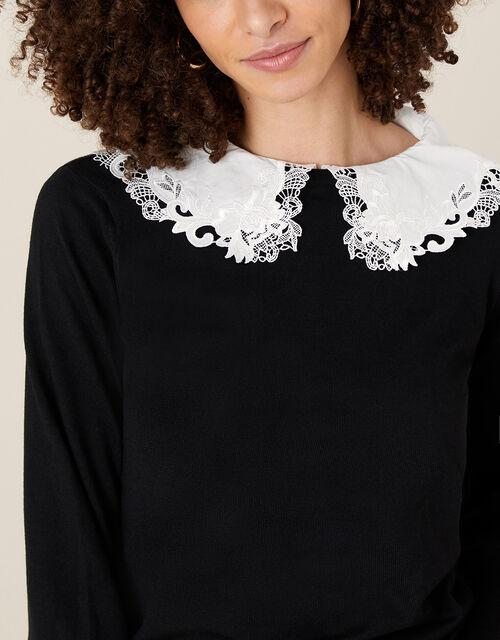 Embroidered Collar Jumper, Black (BLACK), large