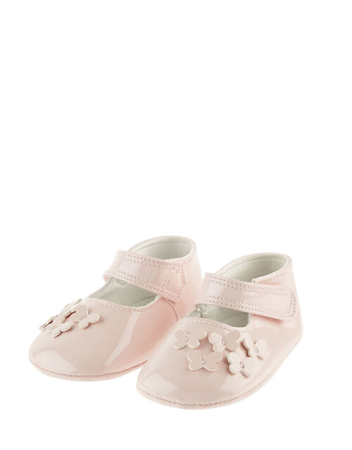 Baby Patent Butterfly Booties, Pink (PALE PINK), large