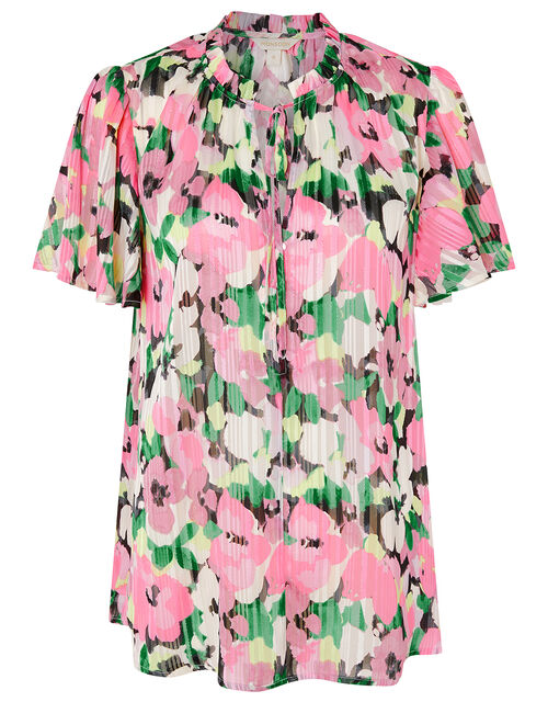 Floral and Metallic Pleated Blouse, Pink (PINK), large