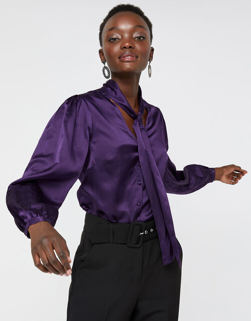 Violet Tie Neck Blouse in Silk Blend, Purple, large
