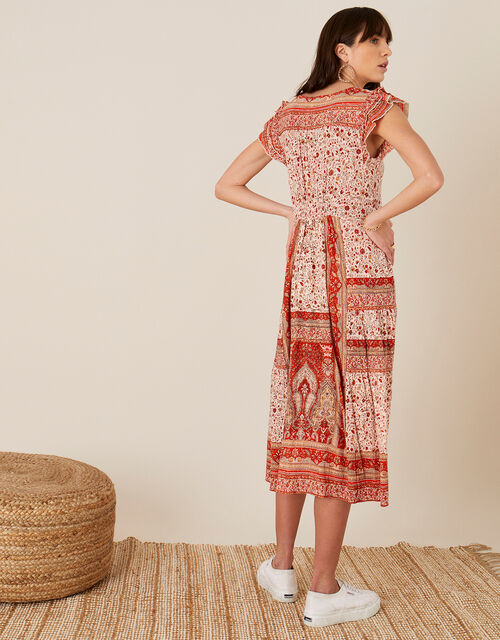 Heli Heritage Print Jersey Midi Dress, Orange (ORANGE), large