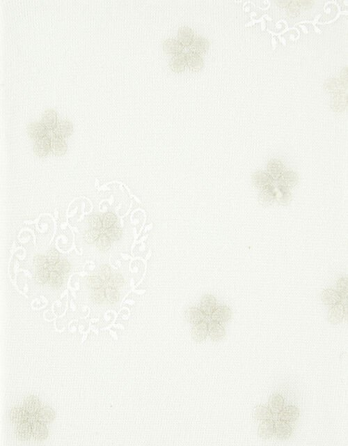 Baby Swirly Heart Flower Tights, Ivory (IVORY), large