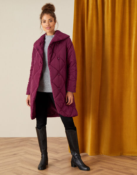 Terry Diamond Padded Coat Red, Red (BERRY), large