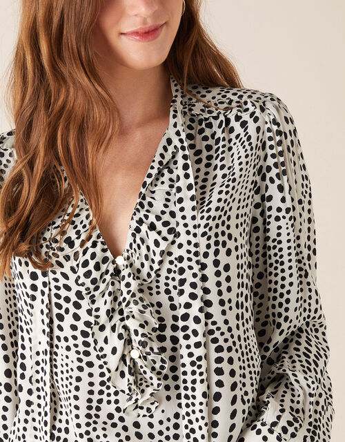 Spot Print Blouse in Sustainable Viscose, Ivory (IVORY), large