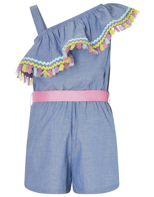 Tassel Trim One-Shoulder Chambray Playsuit, Blue (BLUE), large