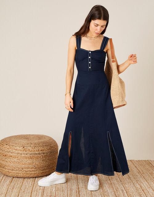 Contrast Stitch Dress in Linen Blend  , Blue (NAVY), large