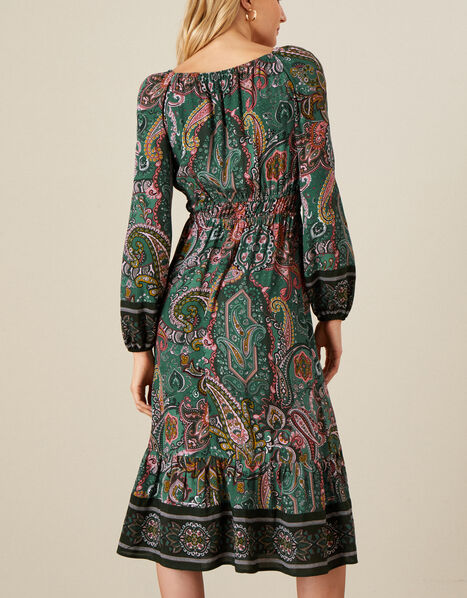 Elaina Paisley Square Neck Tie Dress Green, Green (GREEN), large
