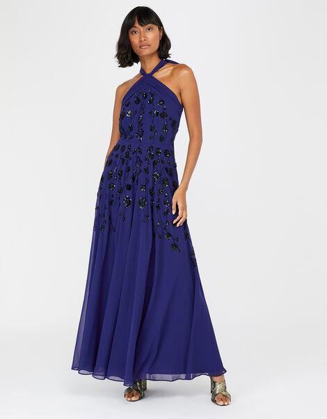 Annabel Floral Embellished Maxi Dress Blue, Blue (COBALT), large