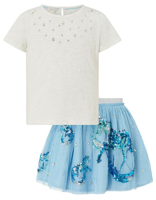 Disco Water Horse Sparkle Top and Skirt Set, Blue (BLUE), large