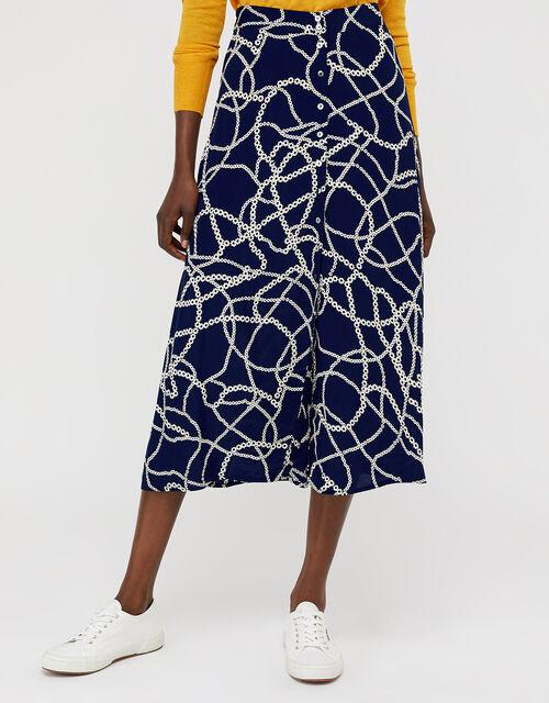 Daisy Chain Print Midi Skirt, Navy, large