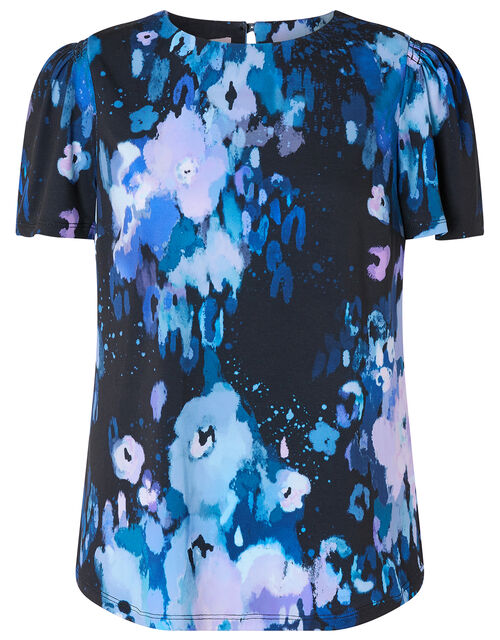 Mason Blur Print Top, Blue (BLUE), large