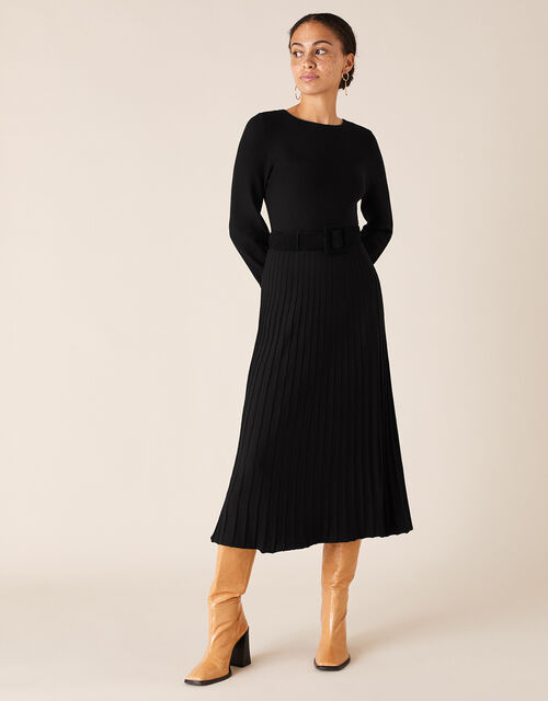 Pleated Skirt Knit Dress with LENZING™ ECOVERO™, Black (BLACK), large