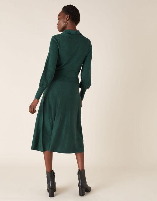Cowl Neck Belted Knit Dress, Teal (TEAL), large