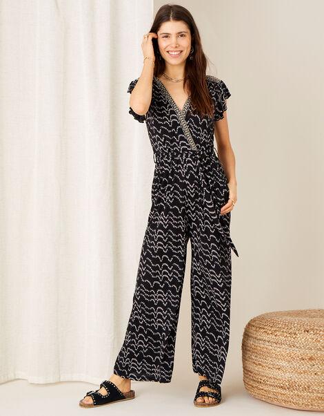 Martha Printed Jersey Jumpsuit Black, Black (BLACK), large