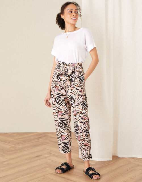 Palm Print Poplin Trousers, Natural (STONE), large