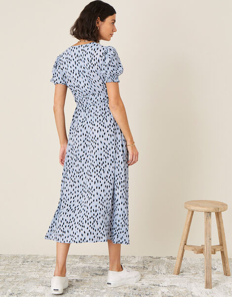 Printed Ruched Midi Dress Blue, Blue (BLUE), large