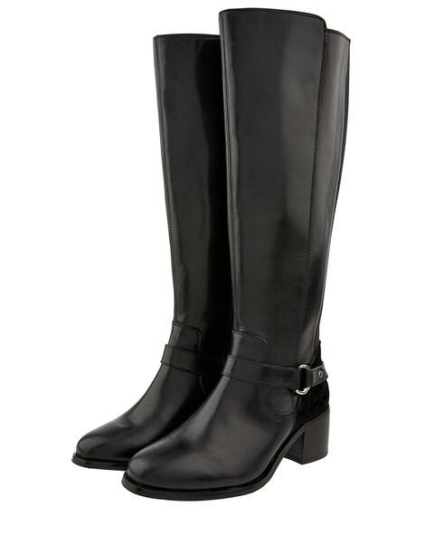 Edie Long Leather Boots Black, Black (BLACK), large