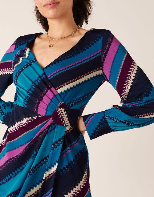 Stripe Print Wrap Jersey Midi Dress, Teal (TEAL), large