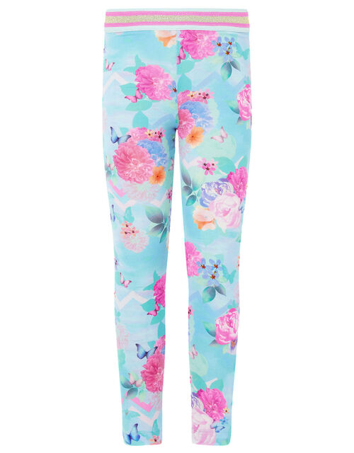 Floral Print Leggings, Blue (TURQUOISE), large