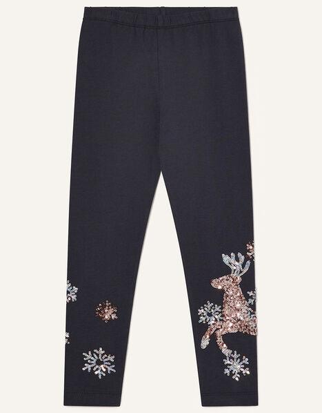 Sequin Reindeer Leggings Blue, Blue (NAVY), large