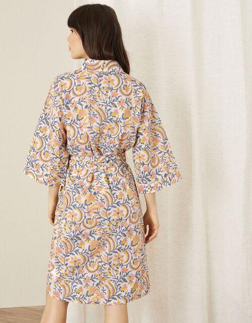 ARTISAN STUDIO Woodblock Print Robe, Ivory (IVORY), large