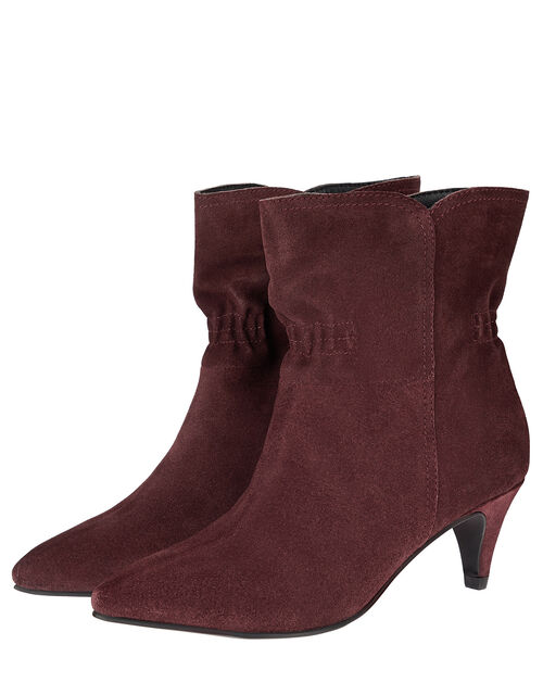 Ruched Suede Ankle Boots, Red (BURGUNDY), large