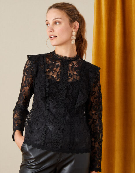 Leah Long Sleeve Lace Top Black, Black (BLACK), large