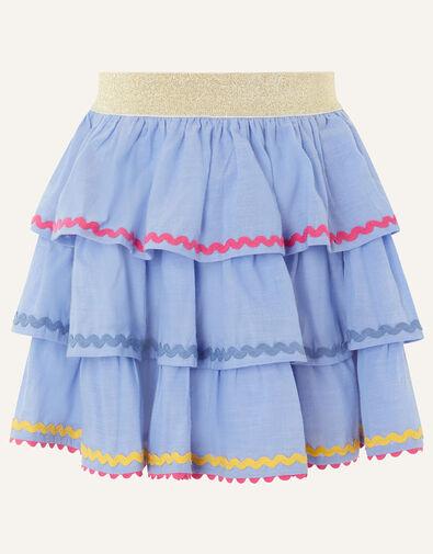 Chambray Ricrac Skirt  Blue, Blue (BLUE), large