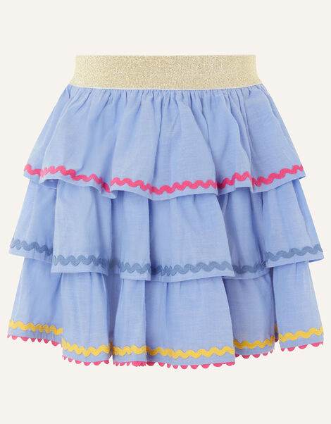 Chambray Ricrac Skirt  Blue, Blue (BLUE), large