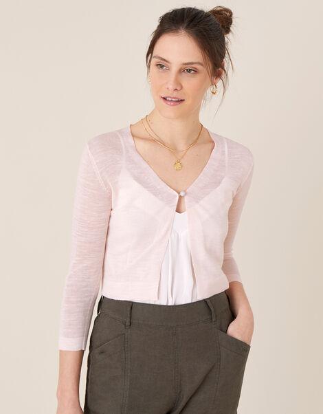 Button Shrug in Linen Blend Pink, Pink (BLUSH), large