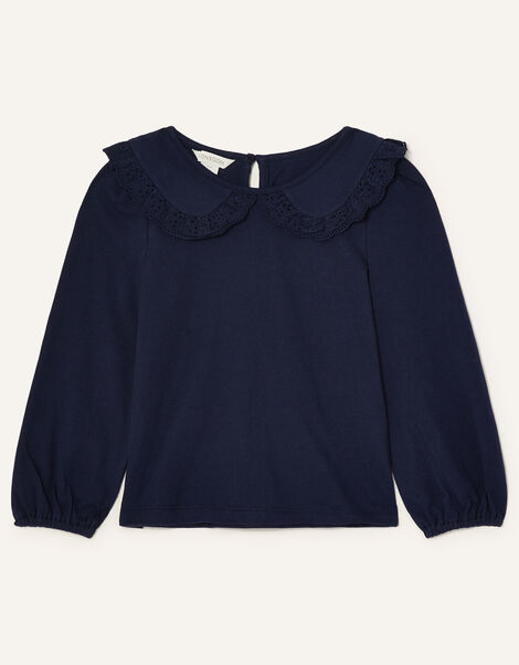 Broderie Collar Top Blue, Blue (NAVY), large