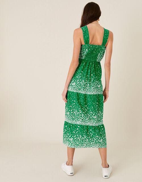 Flower Print Sundress in Organic Cotton , Green (GREEN), large