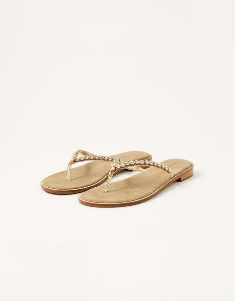 Embellished Leather Flip Flops Gold, Gold (GOLD), large