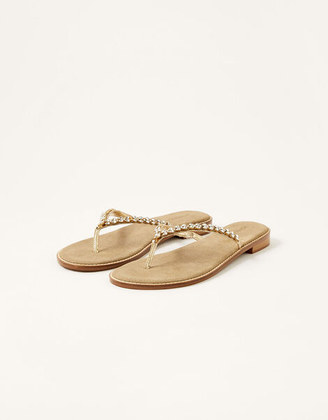 Embellished Leather Flip Flops Gold, Gold (GOLD), large