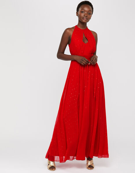 Brie Shimmer Dobby Maxi Dress Red, Red (RED), large