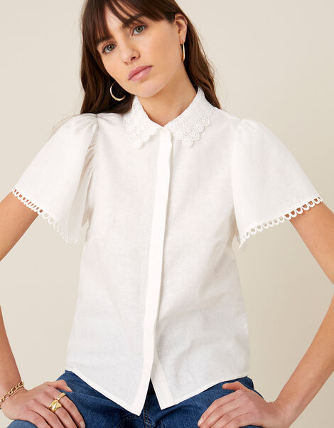 Lace Collar Shirt in Linen Blend Ivory, Ivory (IVORY), large